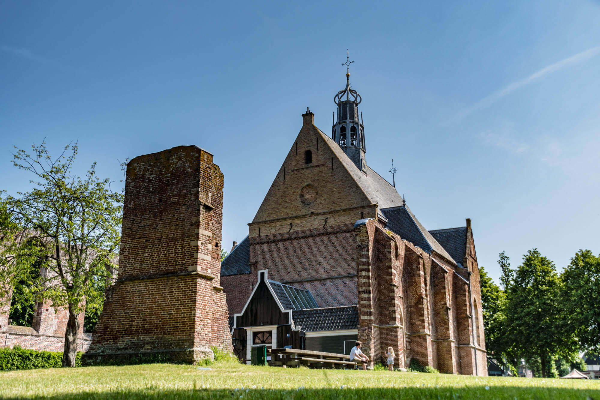Ruïnekerk Bergen NH in de zomer